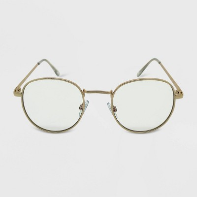 Women's Metal Round Blue Light Filtering Glasses - Wild Fable™ Gold