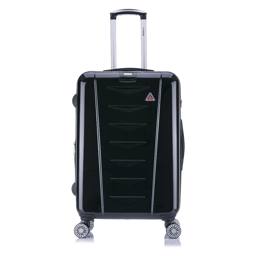 "Image of ""InUSA AirWorld 24"""" Hardside Spinner Suitcase - Black"""