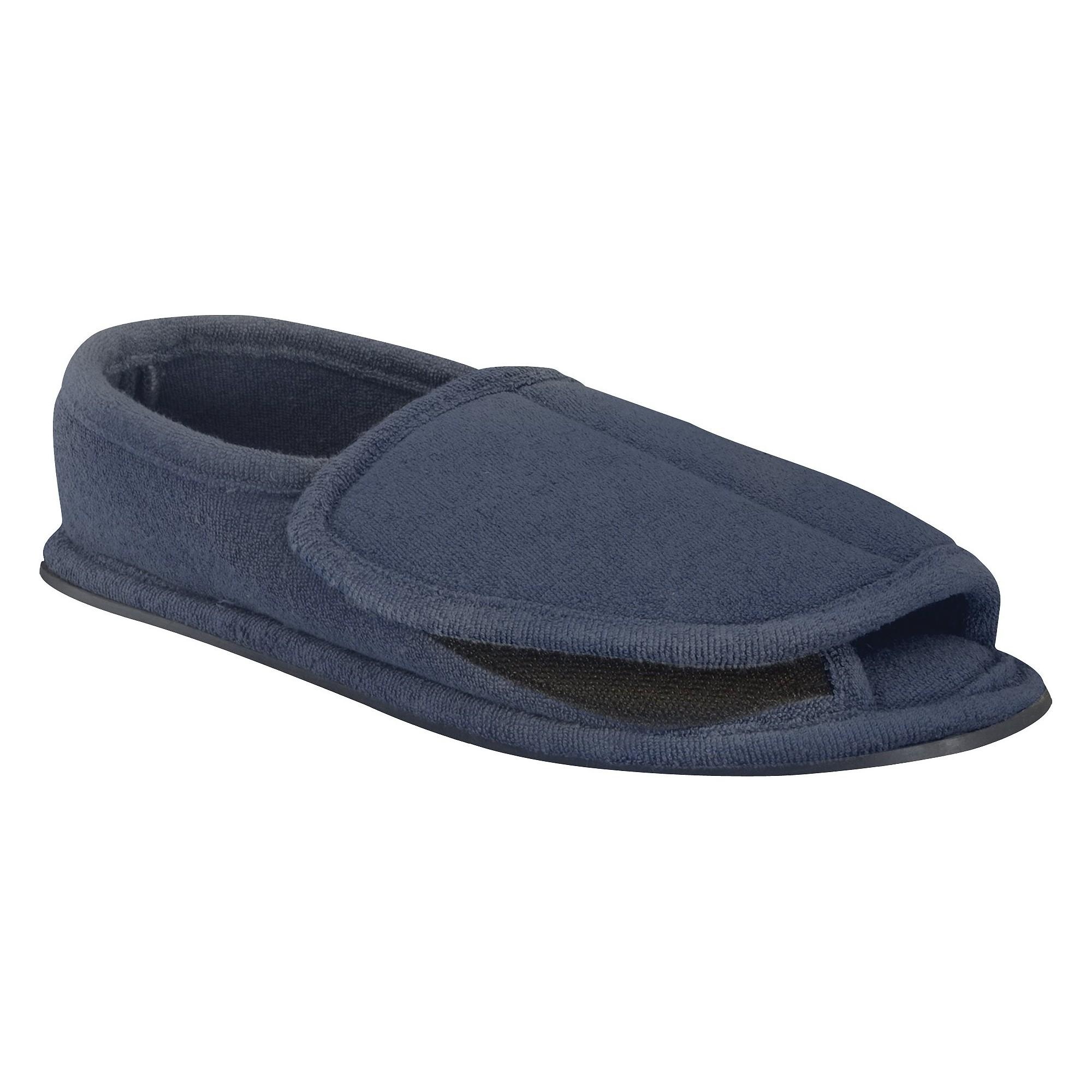 Men's MUK LUKS Adjustable Open Toe Slipper - Navy L(11.5-13), Size: Large (11.5-13), Blue