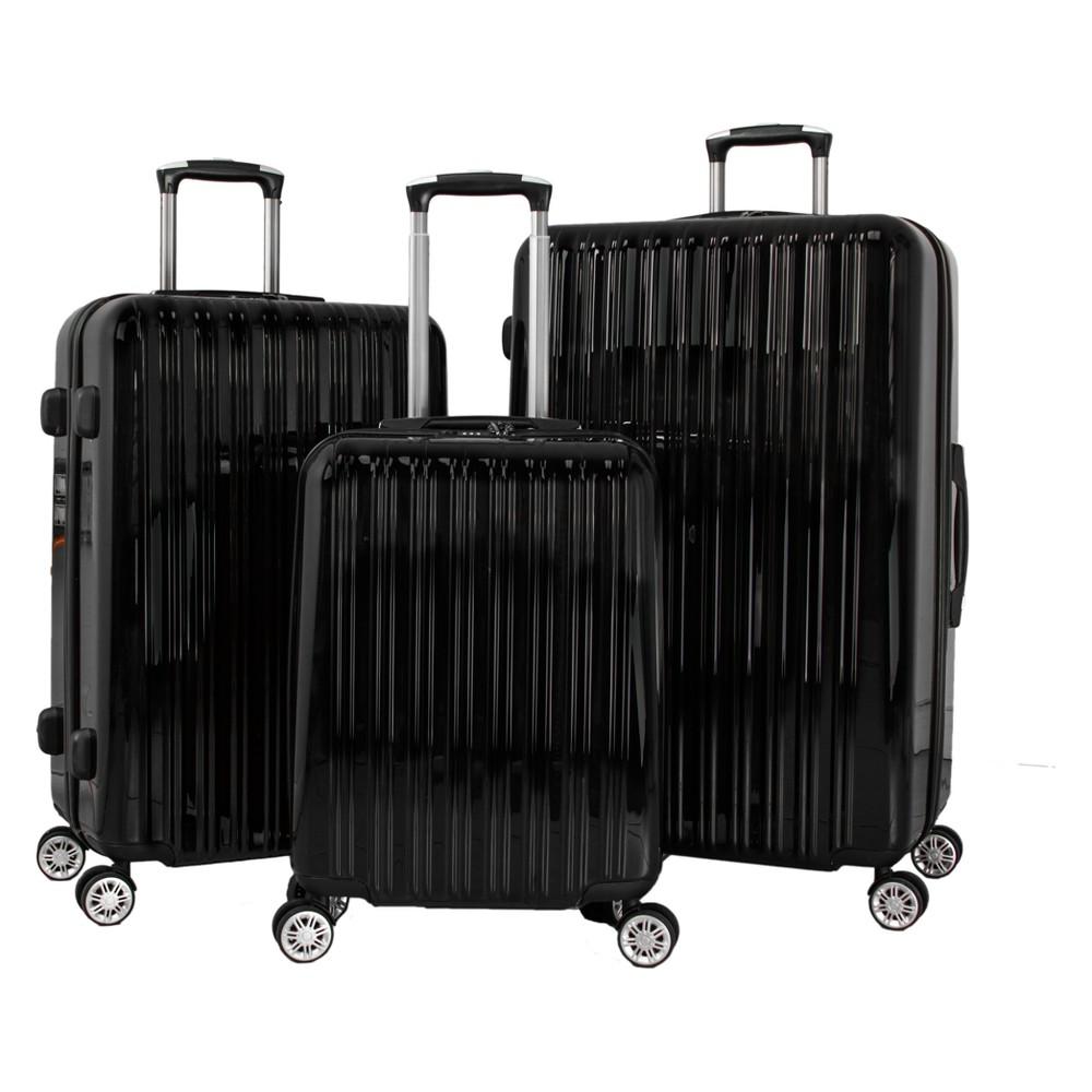Villagio Prestige 3pc Hardside Spinner Luggage Set - Black