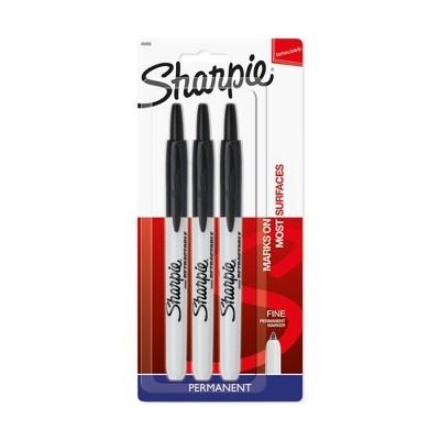 3pk Permanent Marker Retractable Fine Tip Black - Sharpie