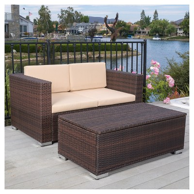 Murano 2pc Aluminum Patio Chat Set with Cushions - Brown - Christopher Knight Home