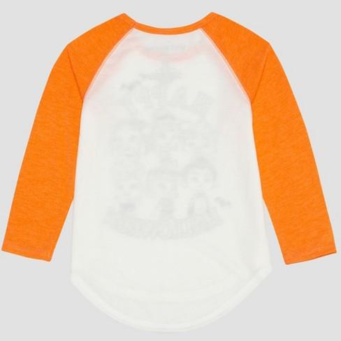 ddab5c009fa Netflix Toddler Girls  Long Sleeve Raglan T-Shirt - White Orange ...