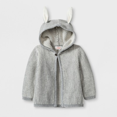 Baby Boys' Hooded Sweater with Bunny Ears - Cat & Jack™ Gray Newborn