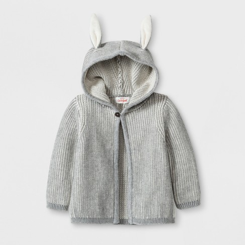 Baby Boys Hooded Sweater With Bunny Ears Cat Jack Gray 6 9m