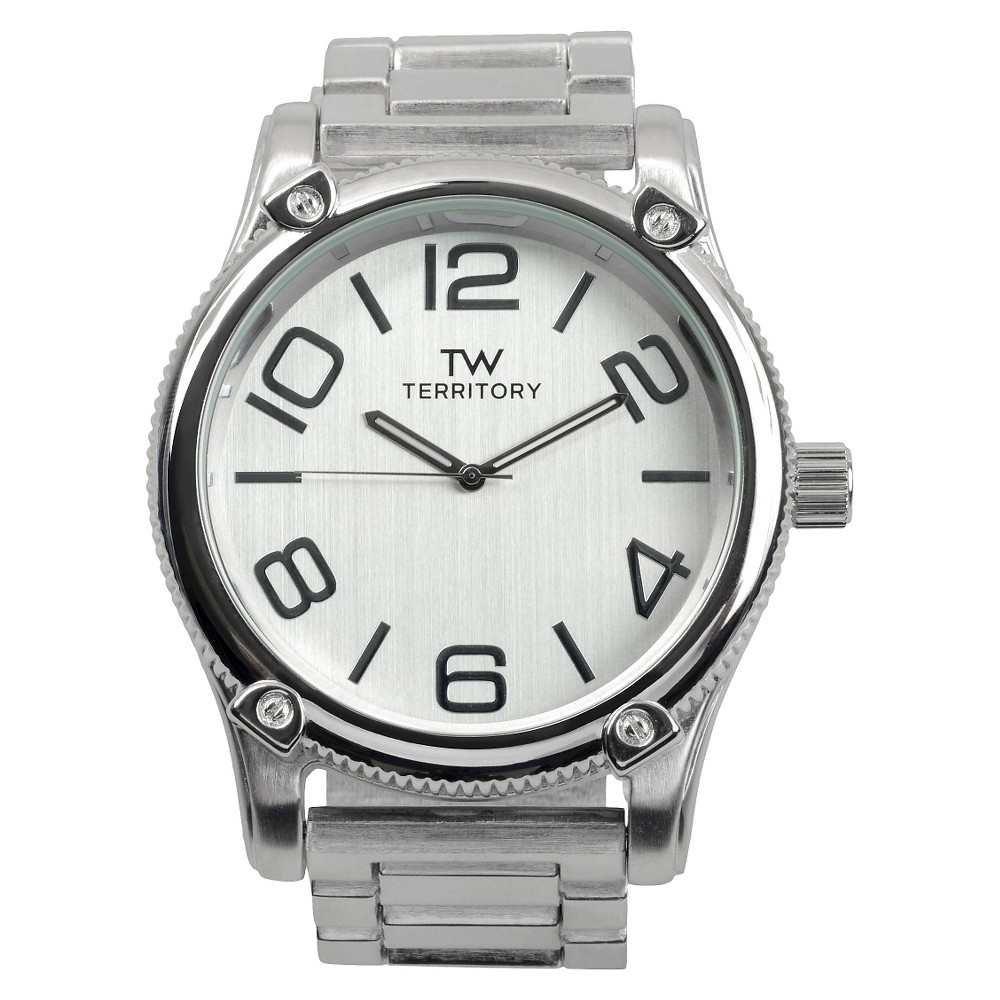 Men's Territory Classic Round Face Polished Metal Link Watch - Silver