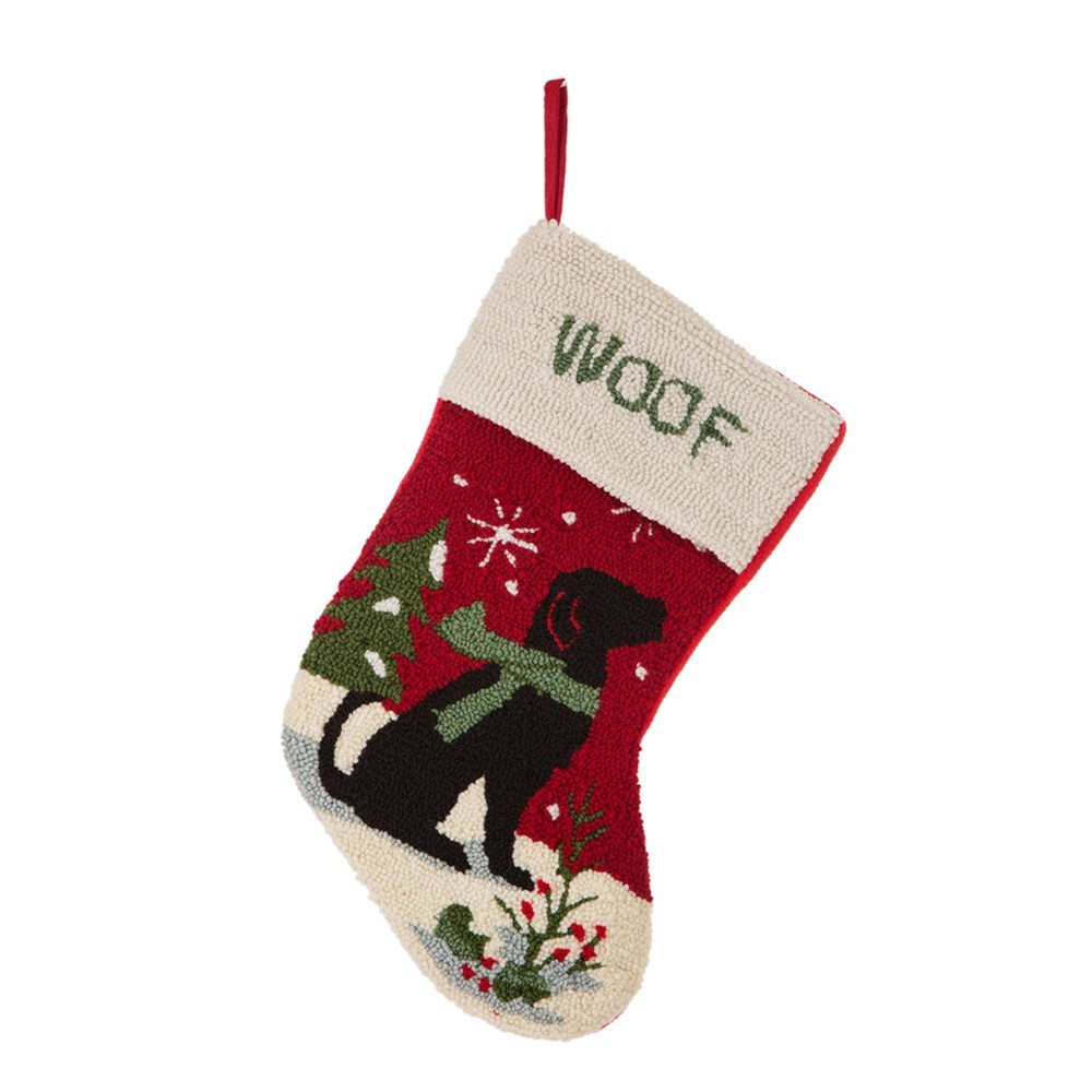 Image of Dog Hooked Christmas Stocking - Glitzhome