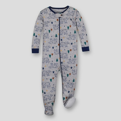 Lamaze Toddler Boys' Organic Cotton Bear Stretchy Footed Sleeper - Gray - image 1 of 3