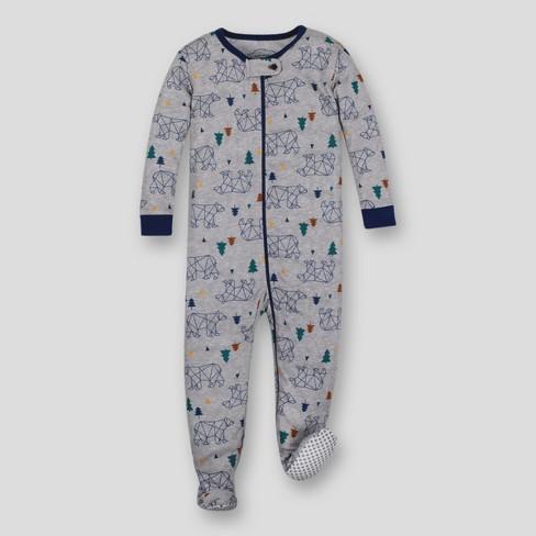 54274cbcb Lamaze Toddler Boys  Organic Bear Stretchy Footed Sleeper - Grey 12M