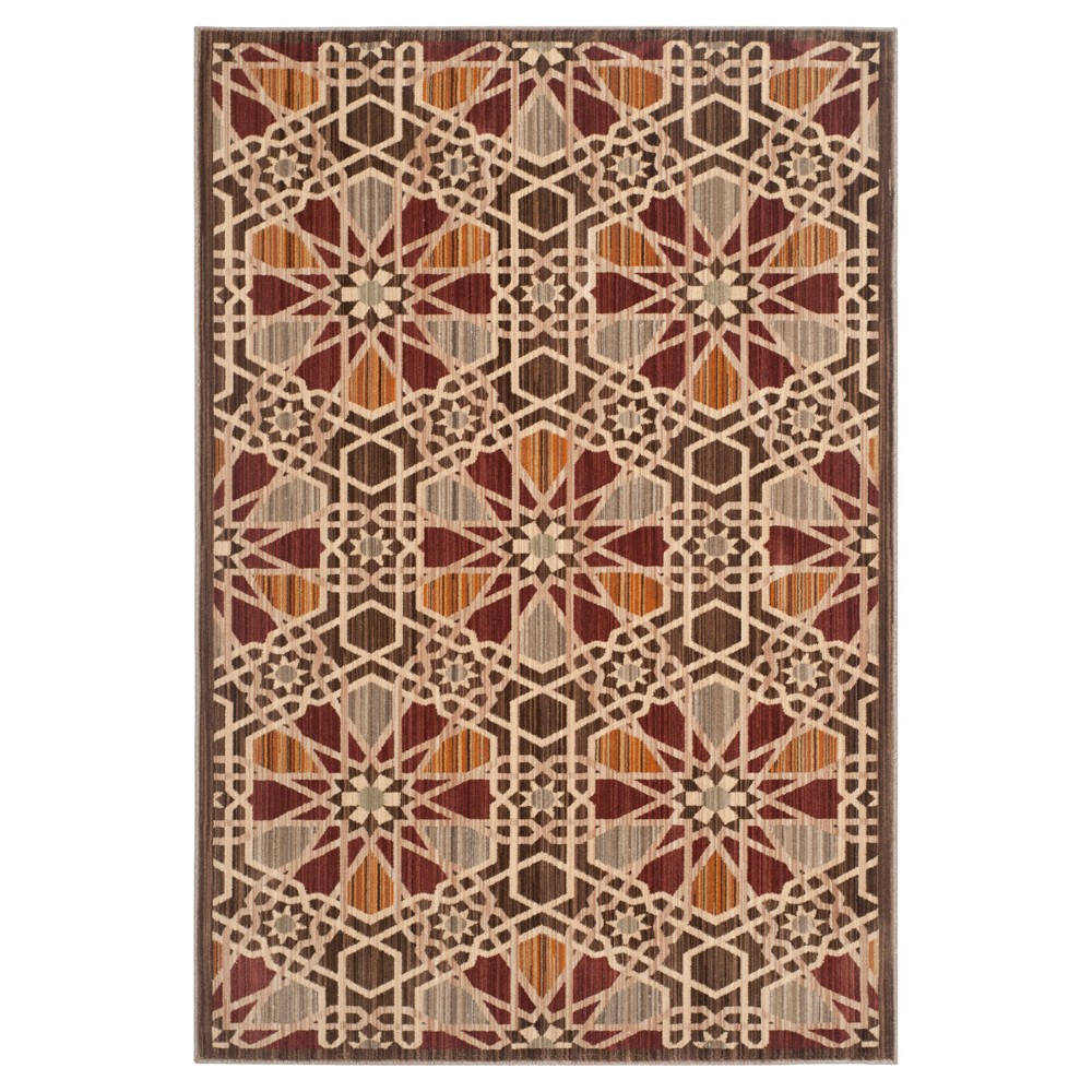 Brown/Beige Abstract Loomed Area Rug - (5'1