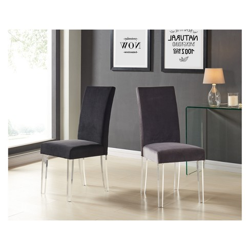 Dalia Modern And Contemporary Dining Chair Set Of 2 In Gray Velvet