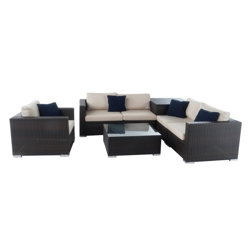 Santa Rosa 7pc  All-Weather Wicker Patio Sectional Sofa Set - Brown - Christopher Knight Home - image 1 of 4