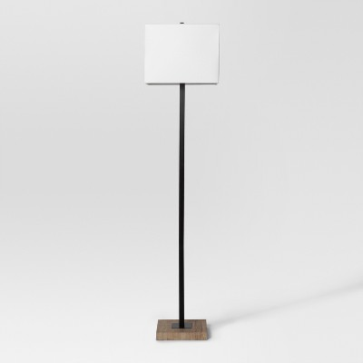 Modern Wood Square Floor Lamp Black Lamp Only - Project 62™
