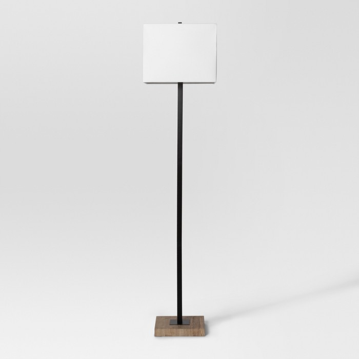 Modern Wood Square Floor Lamp Black - Project 62™ - image 1 of 3