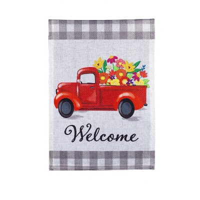 Evergreen Welcome Red Truck Floral with Buffalo Plaid Garden Burlap Flag