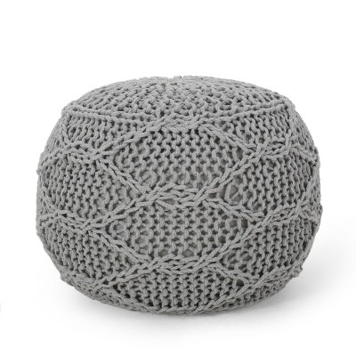 Morven Modern Knitted Cotton Round Pouf Gray - Christopher Knight Home
