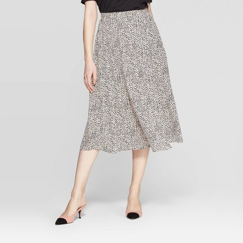 Women's Leopard Print Pleated A Line Skirt - Who What Wear™ Peach - image 1 of 10