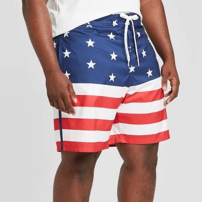 "Men's Big & Tall 10"" Americana Board Shorts - White/Red/Blue 4XB"