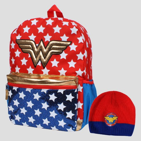 "DC Comics® Wonder Woman 16"" Kids' Backpack with GWP Beanie - image 1 of 5"