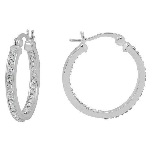 Women's Silver Plated 25x25 MM Crystal Hoop - White - image 1 of 1