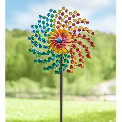 Rainbow Cups Metal Garden Wind Spinner 24 Dia X 10 25 D 75 H Plow Hearth Target