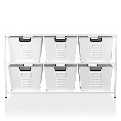 Zalle Organizer with 6 Storage Bins Dark Gray/Black Brush - miBasics
