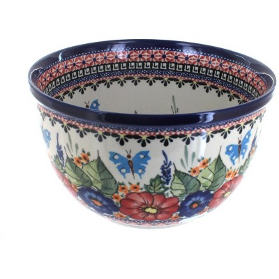 Blue Rose Polish Pottery Floral Butterfly Medium Mixing Bowl