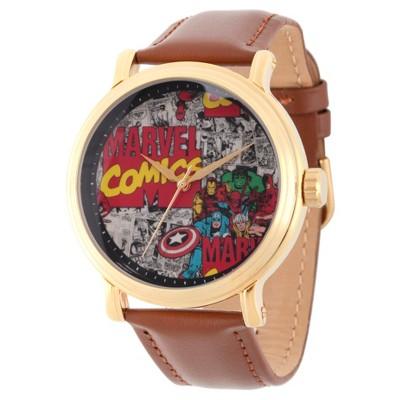Men's Marvel Comics Gold Alloy Vintage Watch - Brown
