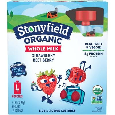 Stonyfield Organic Whole Milk Strawberry Beet Berry Kids' Yogurt - 4ct/3.7oz Pouches