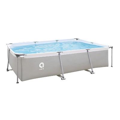 JLeisure Avenli 17773 10 x 6.5 x 2 Feet Outdoor Backyard Above Ground Rectangular Steel Frame Swimming Pool with Repair Kit, Gray