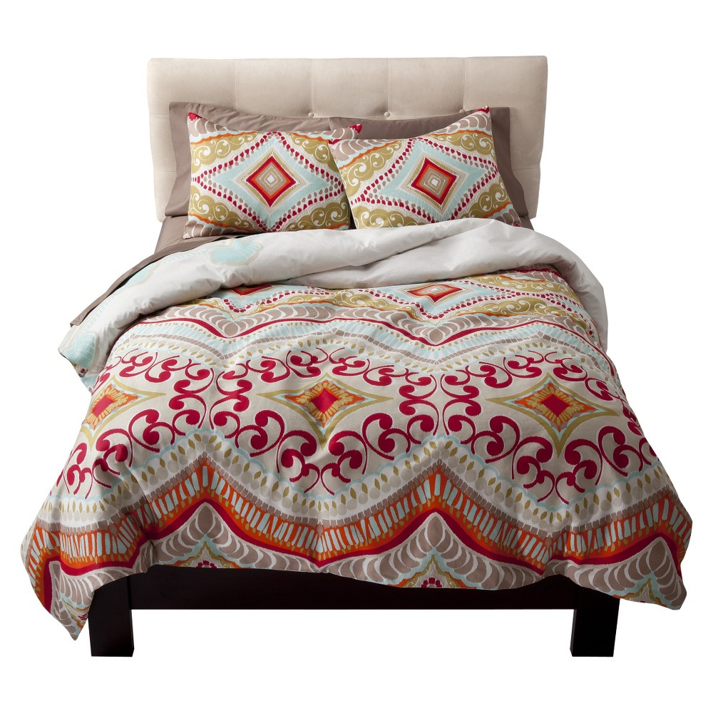 Red Utopia Reversible Comforter Set (Twin) 2-pc - Boho Boutique, Multicolored