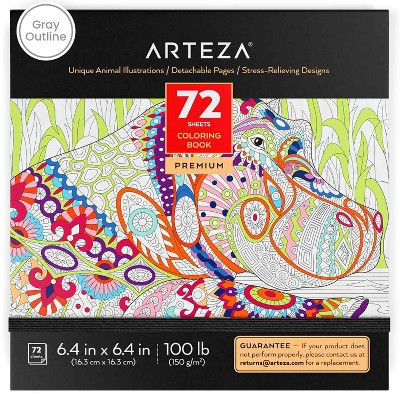 Arteza  Coloring Book, Animal Illustrations, for Kids or Adults - 72 sheets
