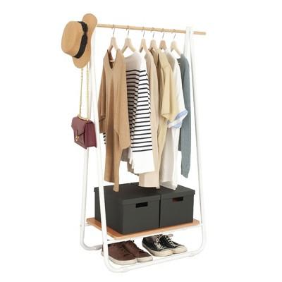 Metal Clothing Garment Rack with Wood Storage Shelf, Freestanding Closet, White and Dark Brown