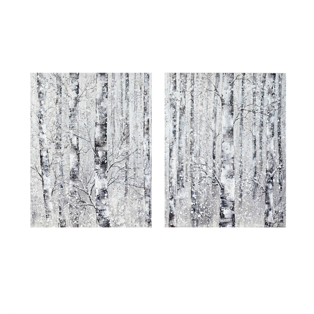 Image of 2pc Winter Forest Hand Embellished Printed Canvas Black/White