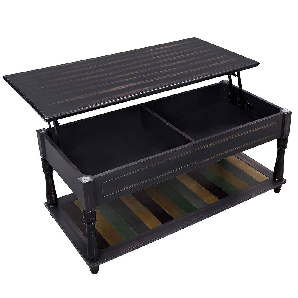 Wooden Coffee Table with Hidden Lift Up Storage and Lower Shelf  - Benzara