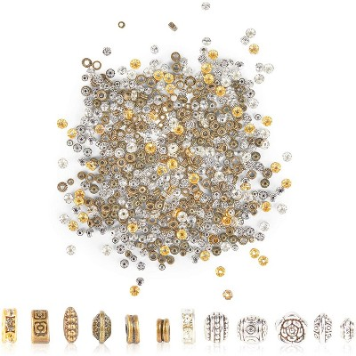 Juvale 600 Pieces Rondelle Spacer Beads for DIY Jewelry Making, 12 Styles (2 Colors, 0.31/0.16 in)