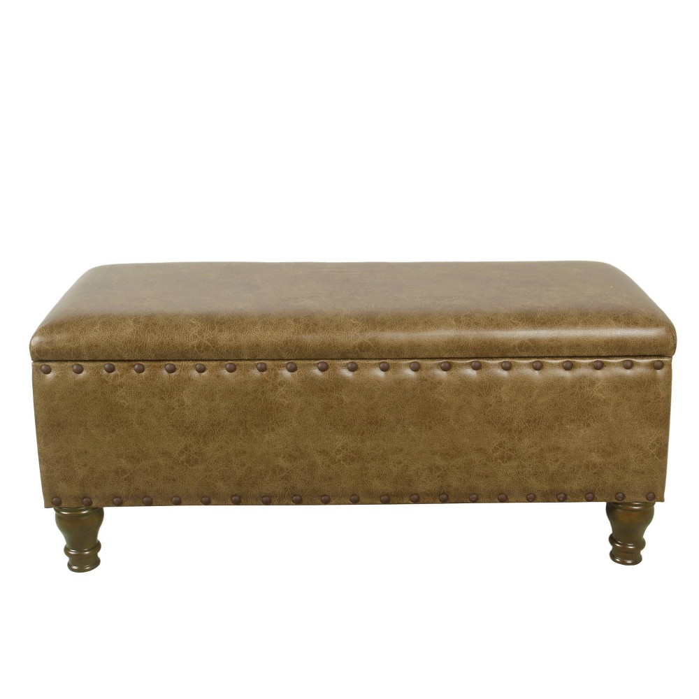 Large Storage Bench with Nailhead Trim Faux Leather Brown - Homepop was $189.99 now $142.49 (25.0% off)