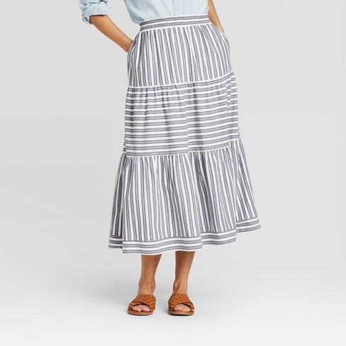 Women's Striped Mid-Rise Tiered Skirt - Universal Thread™ - image 1 of 3