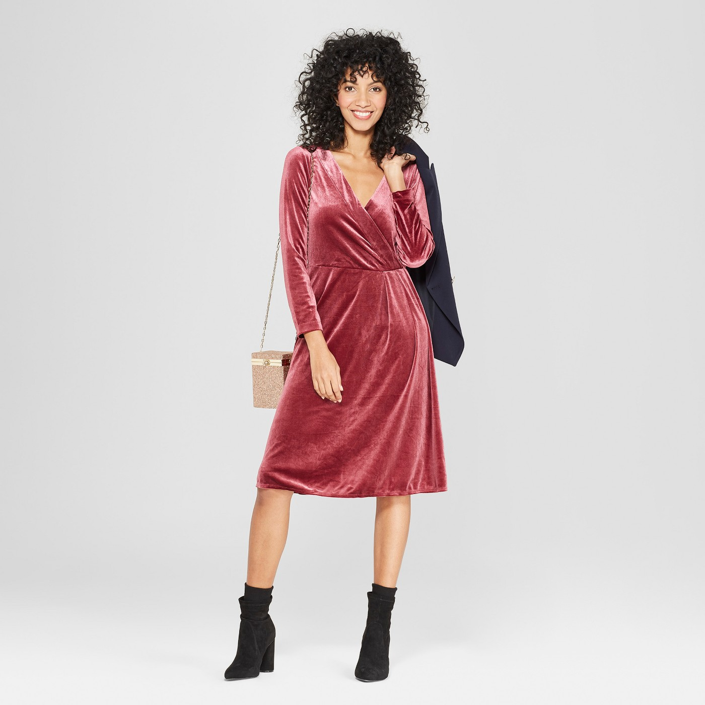 Women's Long Sleeve Velvet Wrap Dress - A New Day™ Burgundy - image 1 of 3