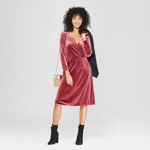 b7708fe43352 Women s Long Sleeve Velvet Wrap Dress - A New Day™ Burgundy   Target