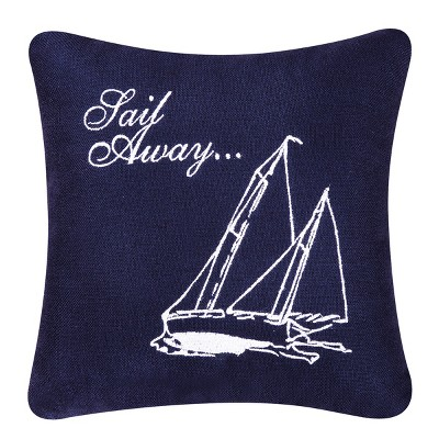 C&F Home 10 x 10 Sail Away Blue Embroidered Accent Pillow