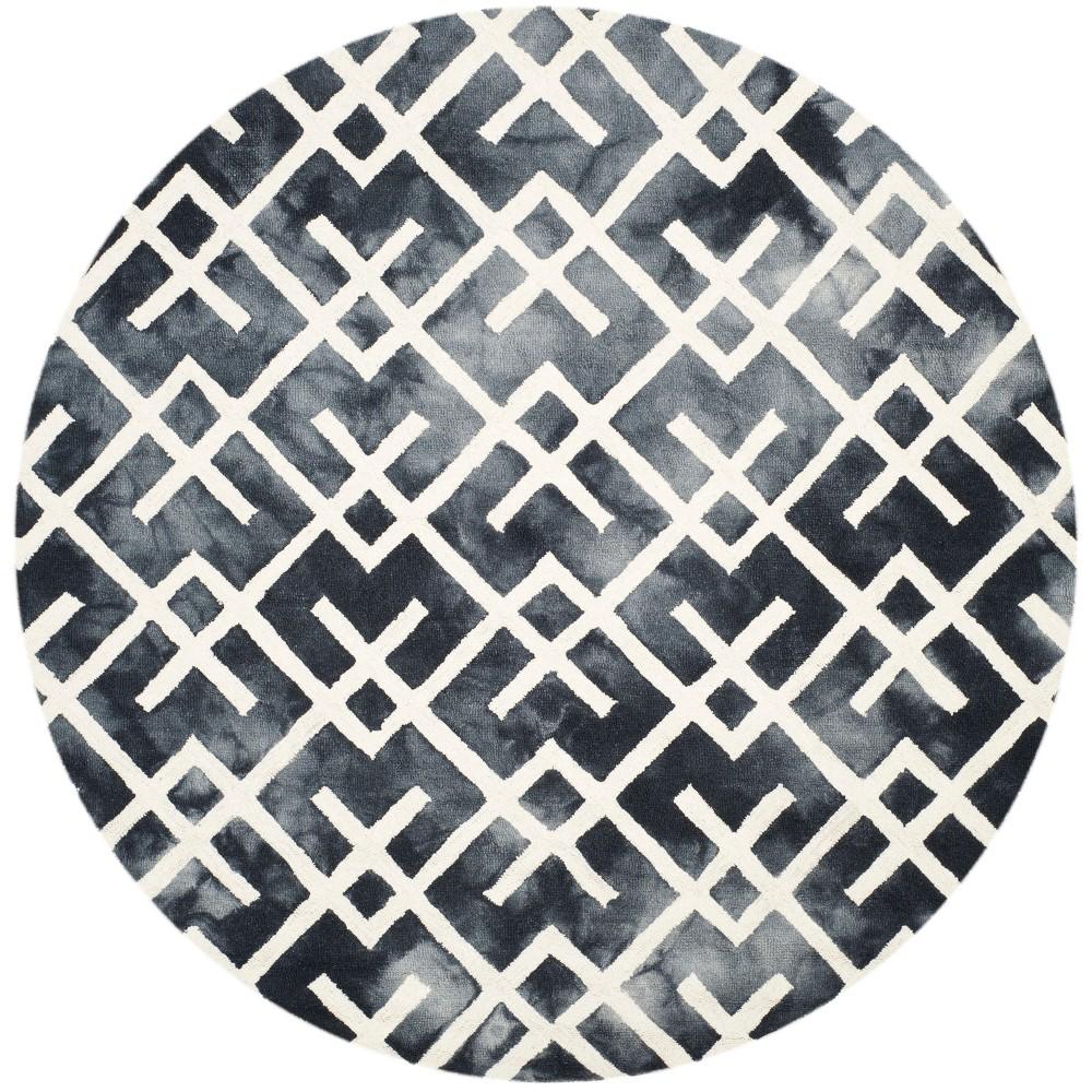 5' Geometric Round Area Rug Graphite/Ivory (Grey/Ivory) - Safavieh