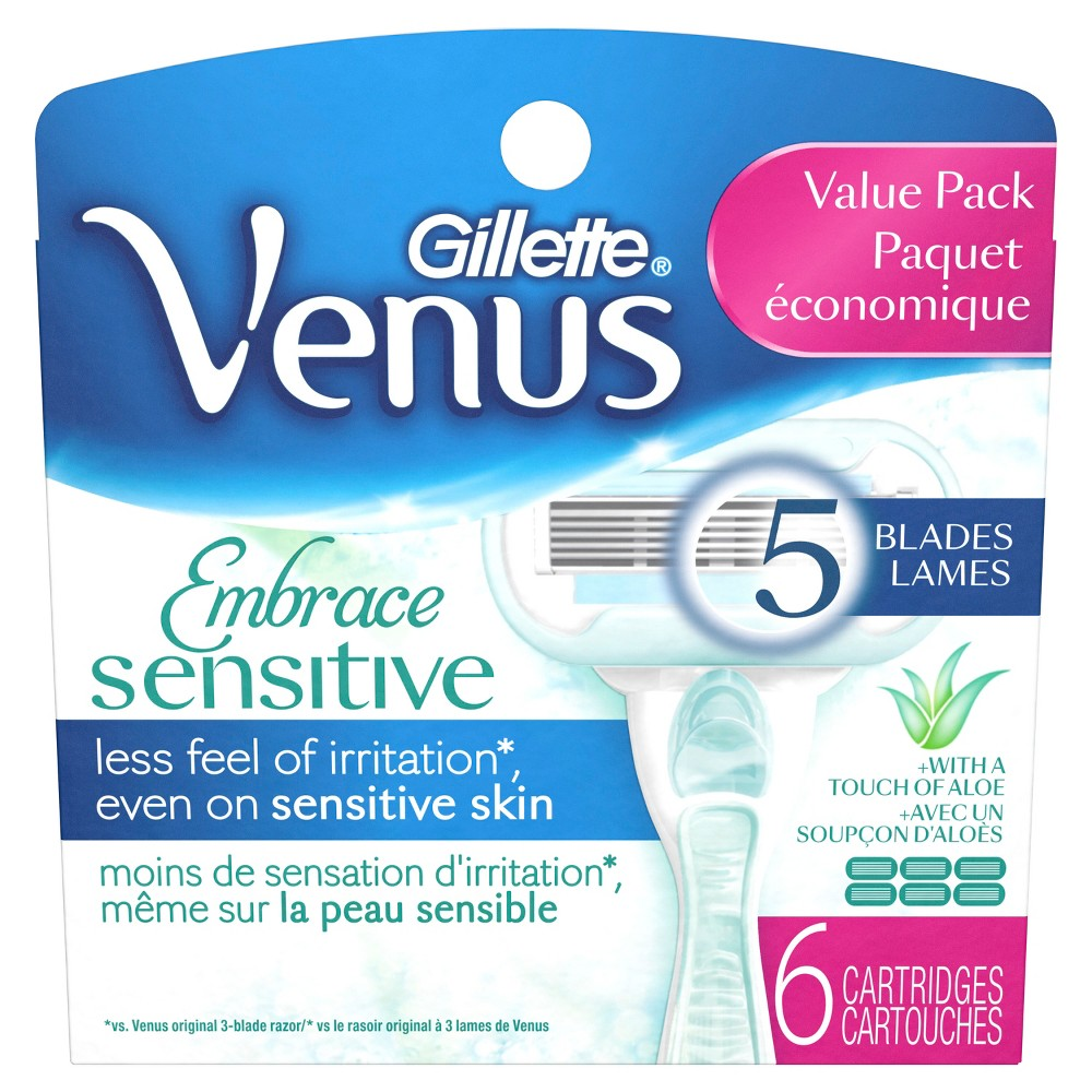 Venus Embrace Sensitive Women's Razor Blade Refills - 6ct