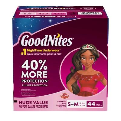 GoodNites Girls' NightTime Underwear - Size S/M (44ct)