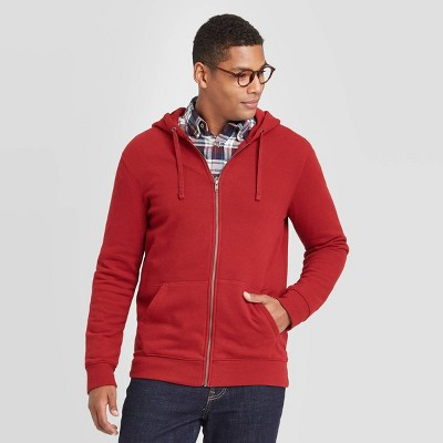 Men's Regular Fit Full Zip Fleece Pullover Hoodie - Goodfellow & Co™ Scarlet Red