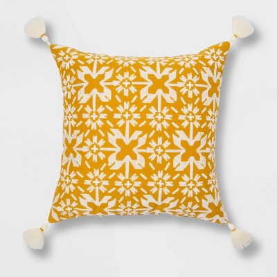 Embroidered Throw Pillow Yellow Square - Threshold™