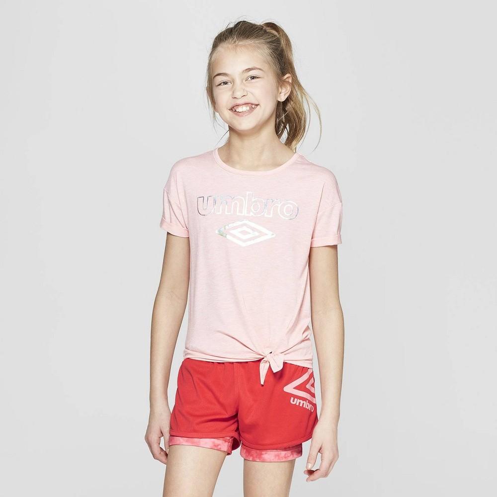 Umbro Girls' Shine Logo Side Tie T-Shirt - Geranium Pink XS