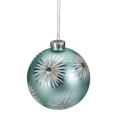 "Northlight 4"" Mint Green Glittered Starburst Glass Ball Christmas Ornament"