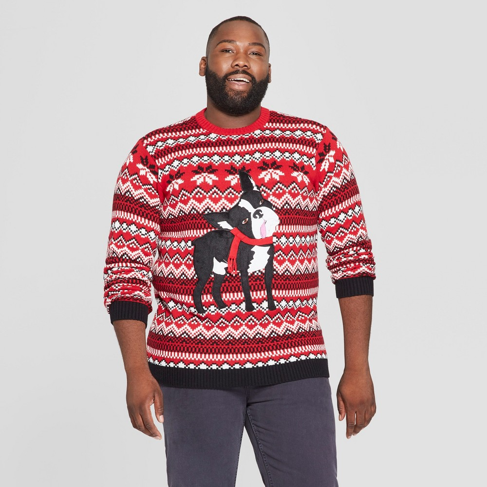 33 Degrees Men's Big & Tall Ugly Holiday Christmas Cute Pug Long Sleeve Pullover Sweater - Red 4XBT