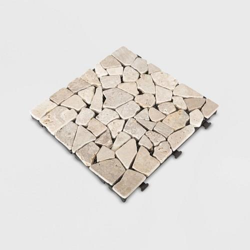 6pk Natural Travertine Stone Deck Tile Set - White - Courtyard Casual